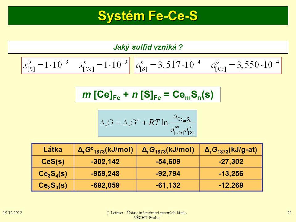 m [Ce]Fe + n [S]Fe = CemSn(s)